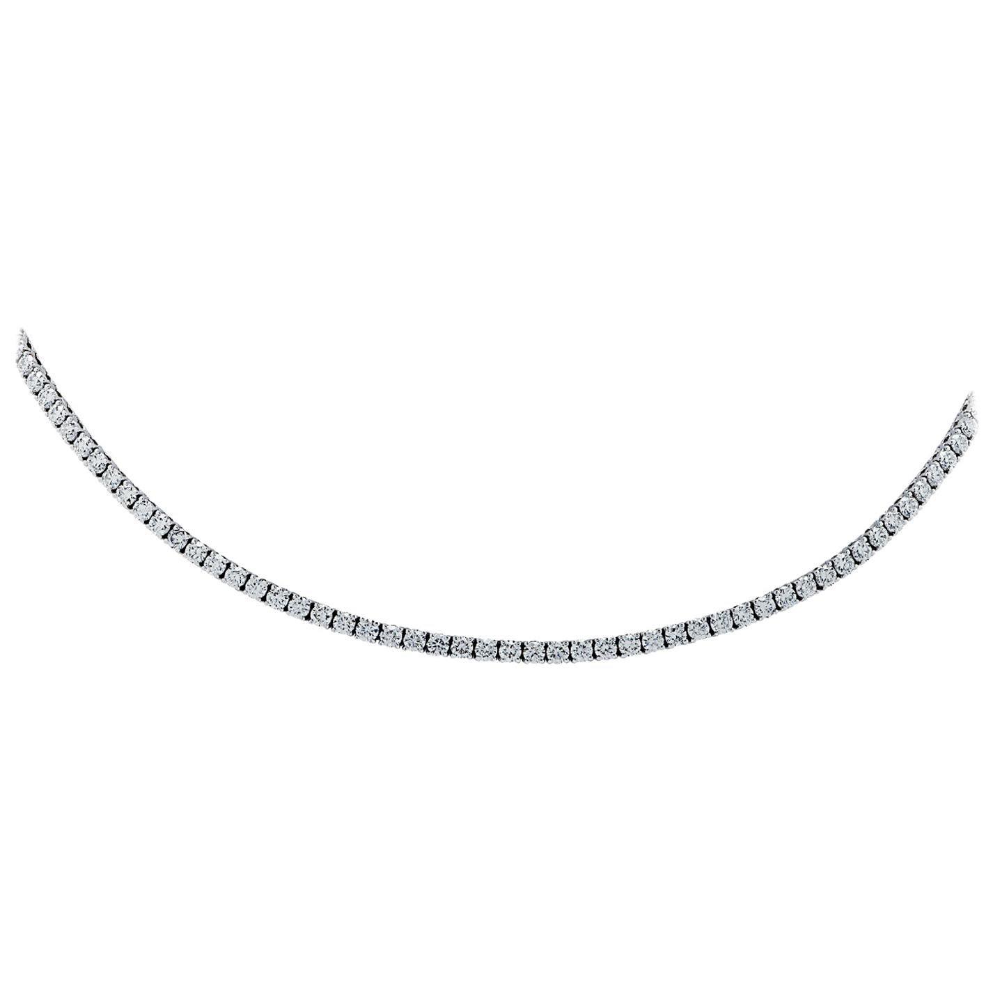 Vivid Diamonds 9.85 Carat Diamond Tennis Necklace