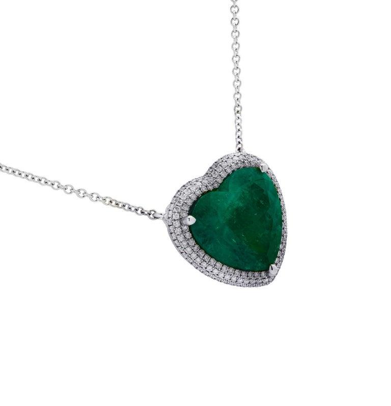Heart Cut Vivid Diamonds AGL Certified 12.54 Carat Emerald and Diamond Heart Necklace For Sale