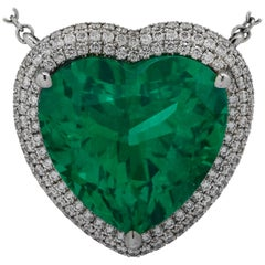 Vivid Diamonds AGL Certified 12.54 Carat Emerald and Diamond Heart Necklace