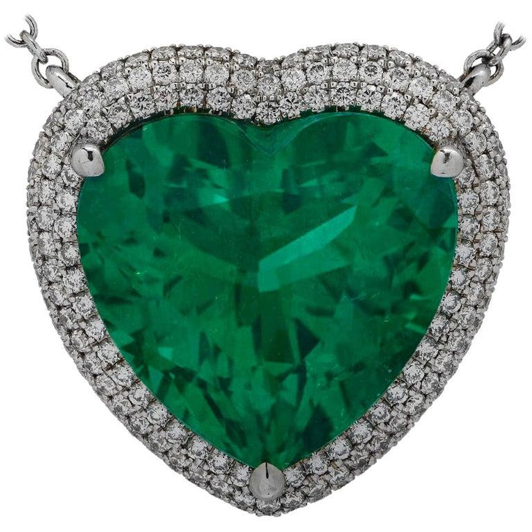 Vivid Diamonds AGL Certified 12.54 Carat Emerald and Diamond Heart Necklace For Sale