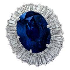 Vivid Diamonds AGL Certified 21.19 Carat Sapphire and Diamond Ballerina Ring