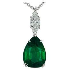 Vivid Diamonds AGL Certified 6.54 Carat Emerald and Diamond Necklace
