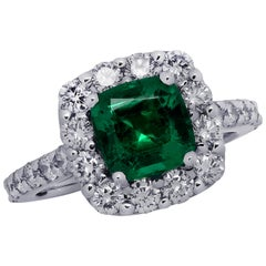 Vivid Diamonds AGL Certified Colombian Emerald Ring