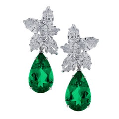 Vivid Diamonds AGL Certified Emerald and Diamond Day and Night Earrings