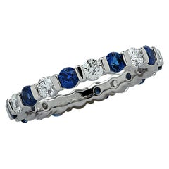 Vivid Diamonds Bar-Set Diamond and Sapphire Eternity Band
