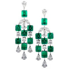 Vivid Diamonds Colombian Emerald and Diamond Dangle Earrings