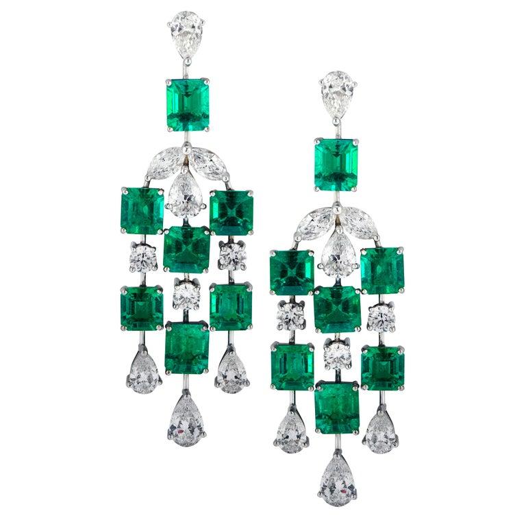 Colombian emerald and diamond dangle earrings, 2020