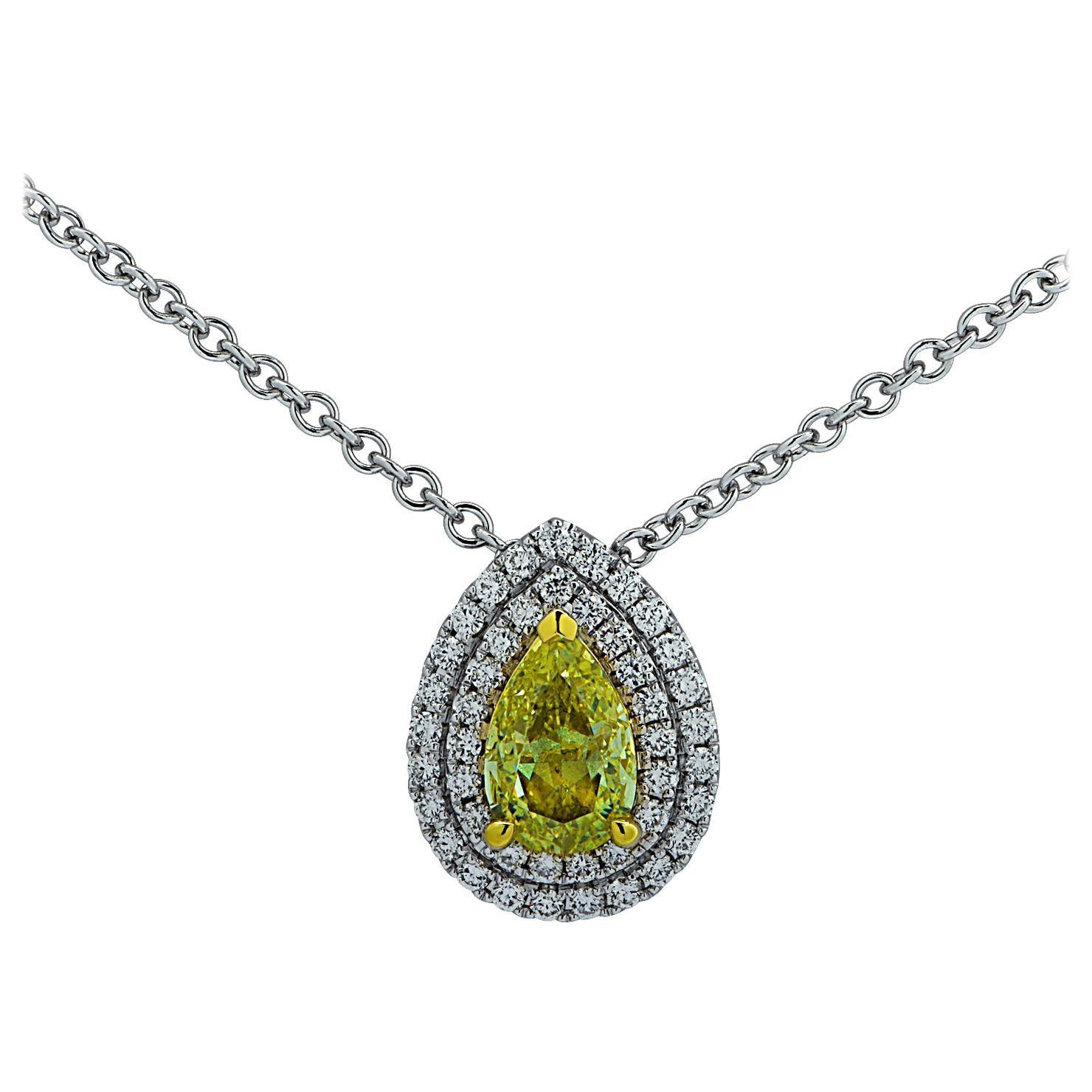 Vivid Diamonds GIA Certified 1.01 Carat Fancy Yellow Diamond Pendant Necklace