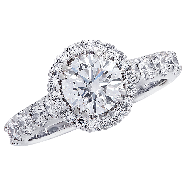 Vivid Diamonds GIA Certified 1.02 Carat Diamond Halo Engagement Ring