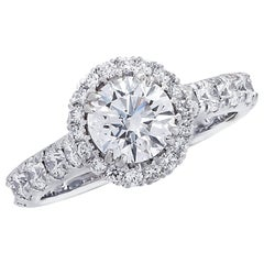 Vivid Diamonds GIA Certified 1.02 Carat Diamond Halo Engagement Ring