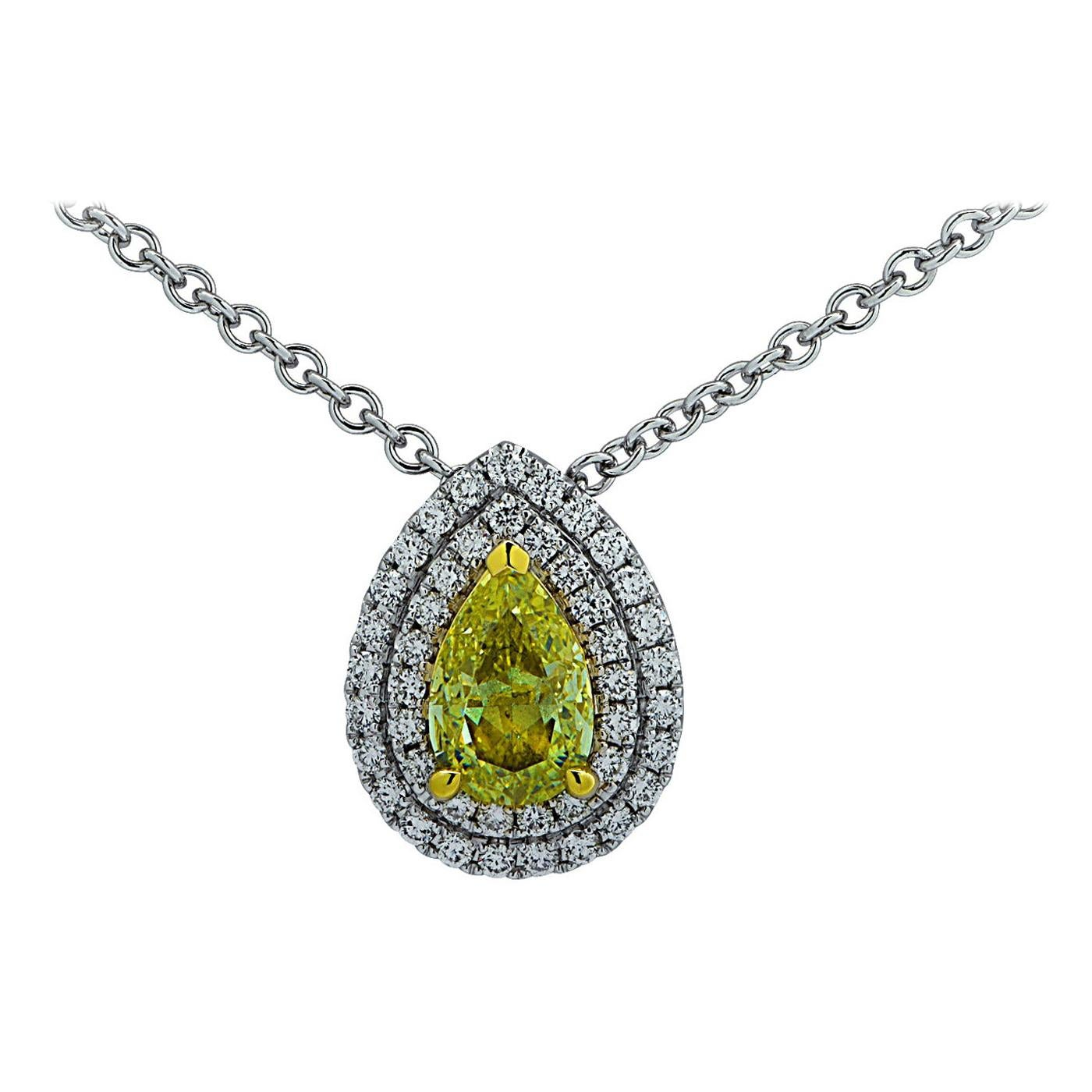 Vivid Diamonds GIA Certified 1.05 Carat Fancy Yellow Diamond Pendant Necklace