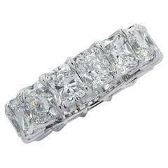 Vivid Diamonds GIA Certified 11.09 Carat Radiant Cut Diamond Eternity Band