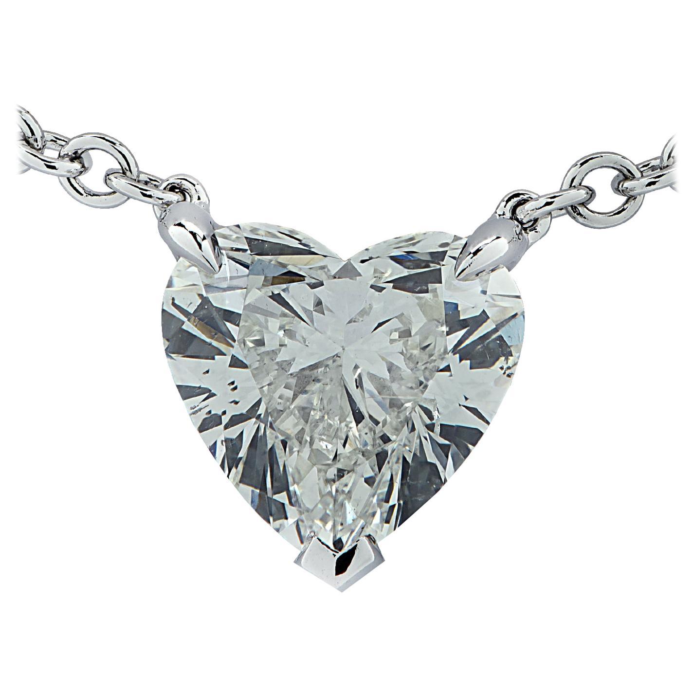 Vivid Diamonds GIA Certified 1.20 Carat Heart Shape Diamond Necklace