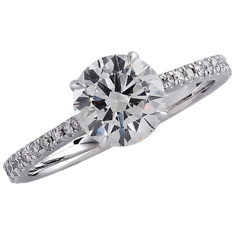 Vivid Diamonds GIA Certified 1.38 Carat Diamond Engagement Ring For Sale