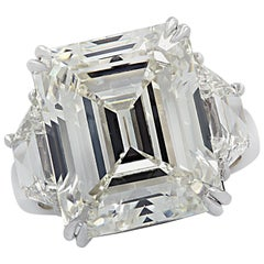 Vivid Diamonds GIA Certified 14.11 Carat Emerald Cut Diamond Engagement Ring