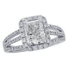 Vivid Diamonds GIA Certified 1.51 Carat Diamond Engagement Halo Ring