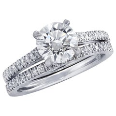 Vivid Diamonds GIA Certified 1.51 Carat Diamond Engagement Ring Set