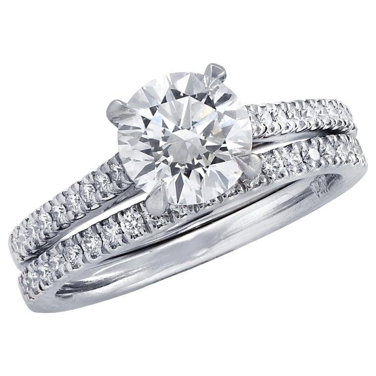 Vivid Diamonds GIA Certified 1.51 Carat Diamond Engagement Ring Set For Sale