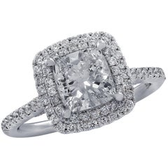 Vivid Diamonds GIA Certified 1.51 Carat Double Halo Ring