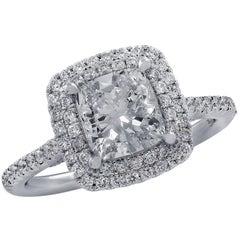 Vivid Diamonds GIA Certified 1.51 Carat Double Halo Ring