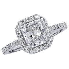 Vivid Diamonds GIA Certified 1.53 Carat Diamond Engagement Halo Ring