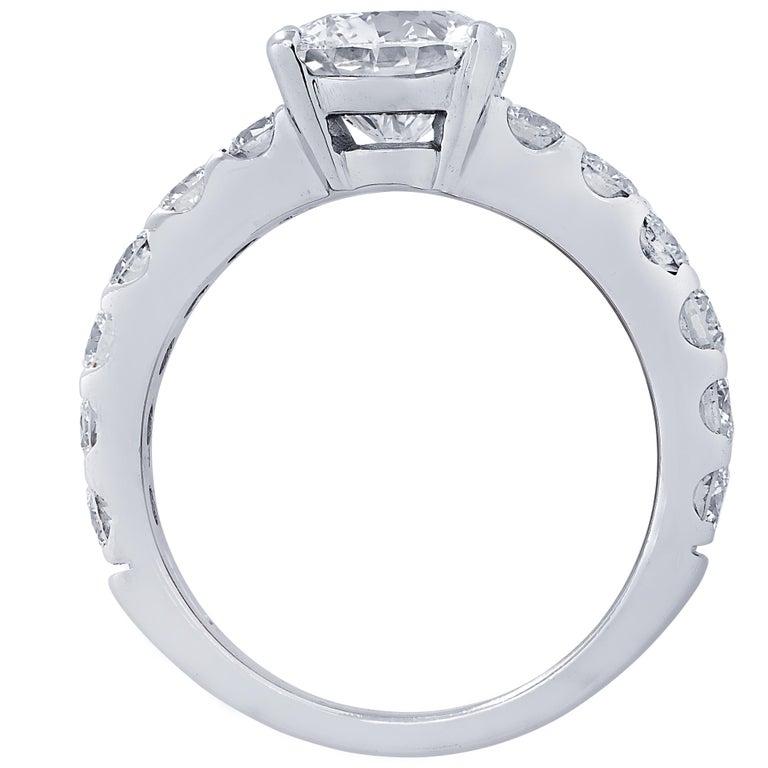 Round Cut Vivid Diamonds GIA Certified 1.65 Carat Diamond Engagement Ring For Sale