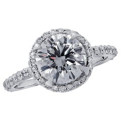 Vivid Diamonds GIA Certified 1.74 Carat Diamond Engagement Halo Ring