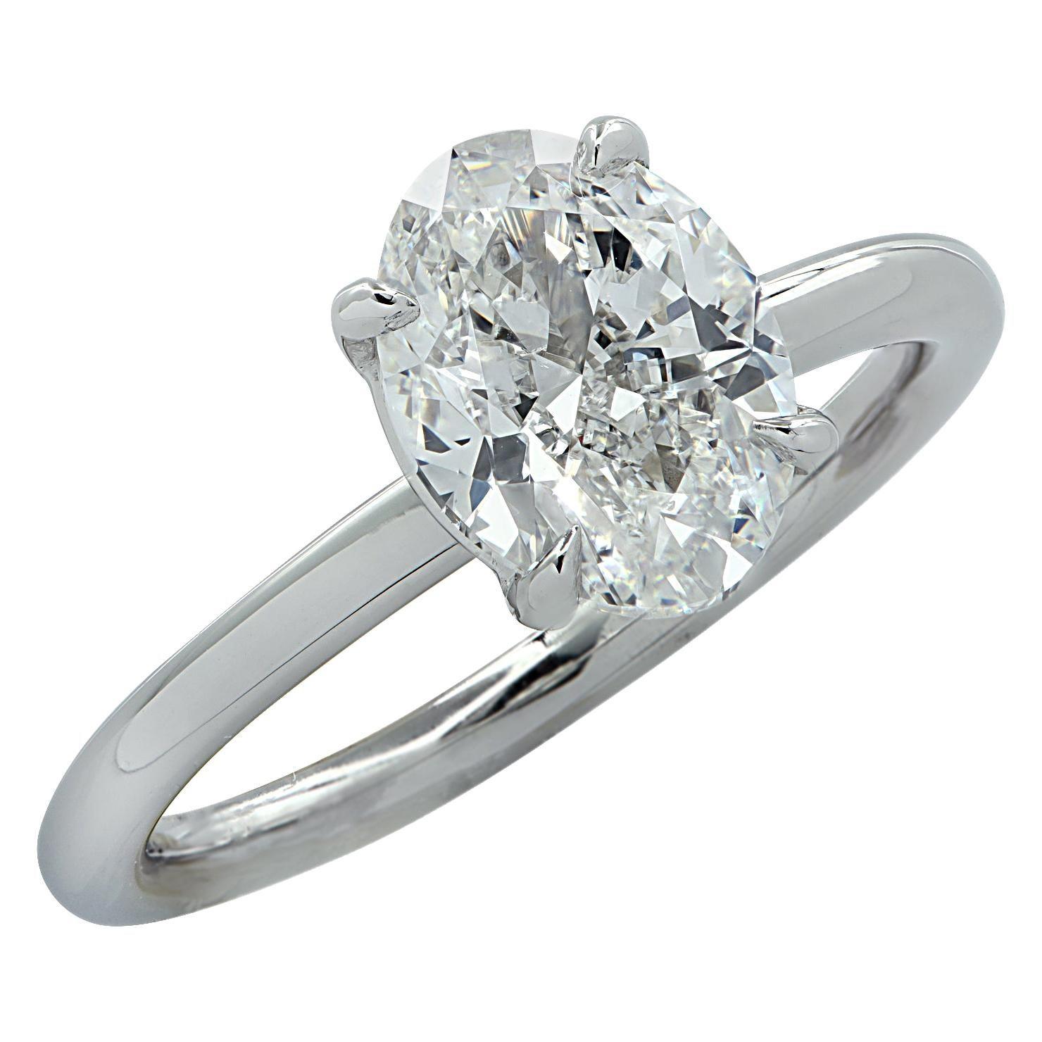 Vivid Diamonds GIA Certified 1.80 Carat Oval Diamond Engagement Ring