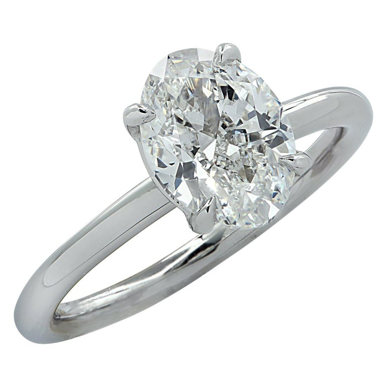 Vivid Diamonds GIA Certified 1.80 Carat Oval Diamond Engagement Ring For Sale