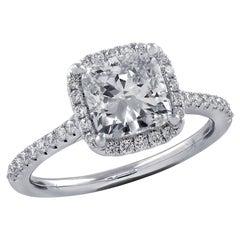 Vivid Diamonds GIA Certified 1.81 Carat Diamond Halo Ring