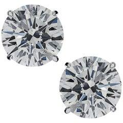 Vivid Diamonds GIA Certified 2.01 Carat Diamond Stud Earrings