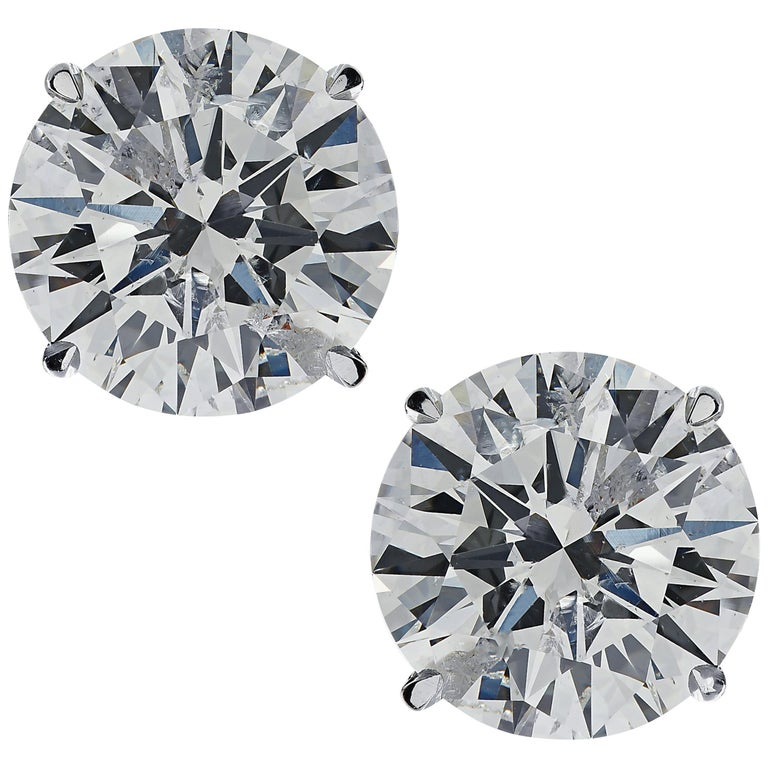 Vivid Diamonds GIA Certified 2.01 Carat Diamond Stud Earrings For Sale