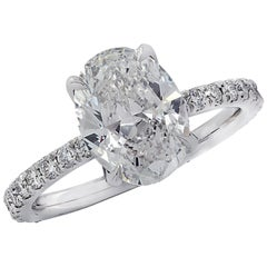 Vivid Diamonds GIA Certified 2.01 Carat Oval Cut Diamond Engagement Ring