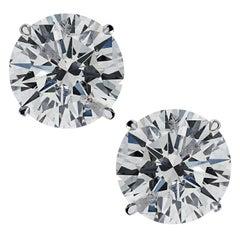 Vivid Diamonds GIA Certified 2.02 Carat Diamond Solitaire Stud Earrings