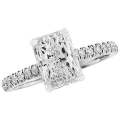 Vivid Diamonds GIA Certified 2.02 Carat Radiant Cut Diamond Engagement Ring