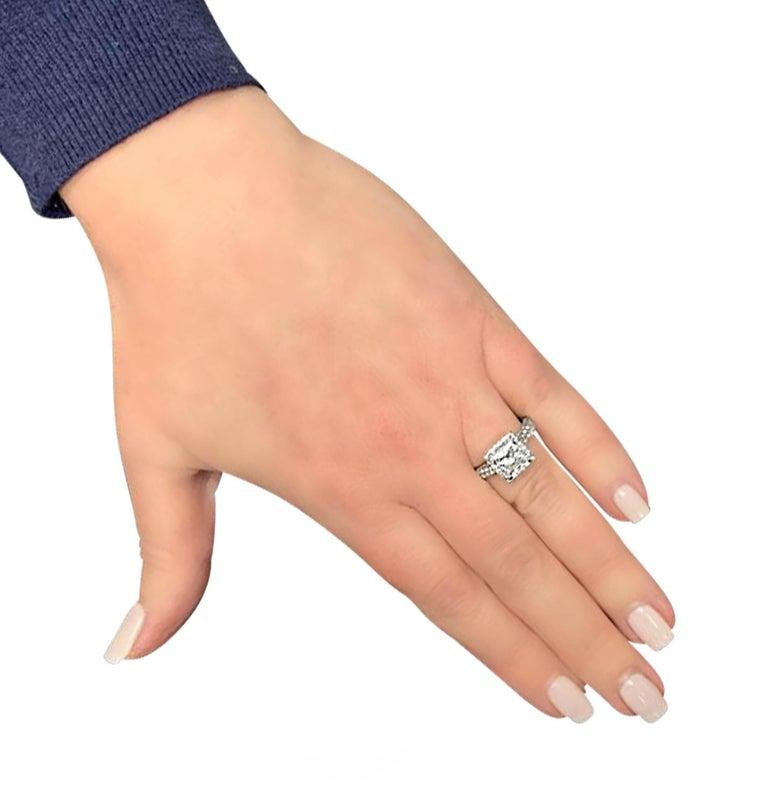 Modern Vivid Diamonds GIA Certified 2.04 Carat Halo Engagement Ring For Sale