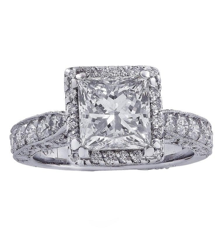 Princess Cut Vivid Diamonds GIA Certified 2.04 Carat Halo Engagement Ring For Sale
