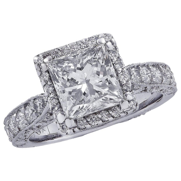 Vivid Diamonds GIA Certified 2.04 Carat Halo Engagement Ring For Sale