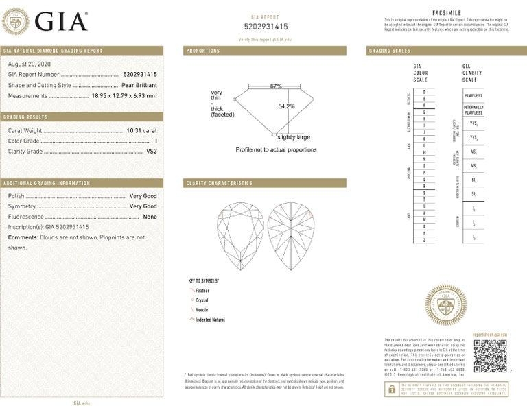 Pear Cut Vivid Diamonds GIA Certified 20.48 Carat Diamond Dangle Earrings For Sale