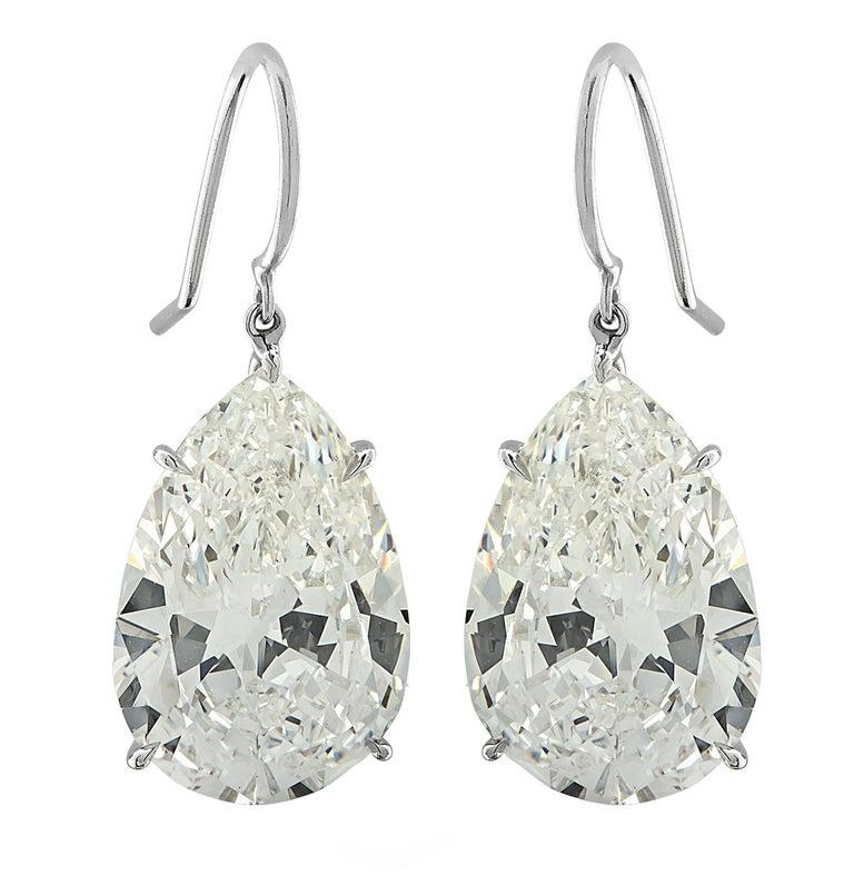 Vivid Diamonds GIA Certified 20.48 Carat Diamond Dangle Earrings For Sale 1