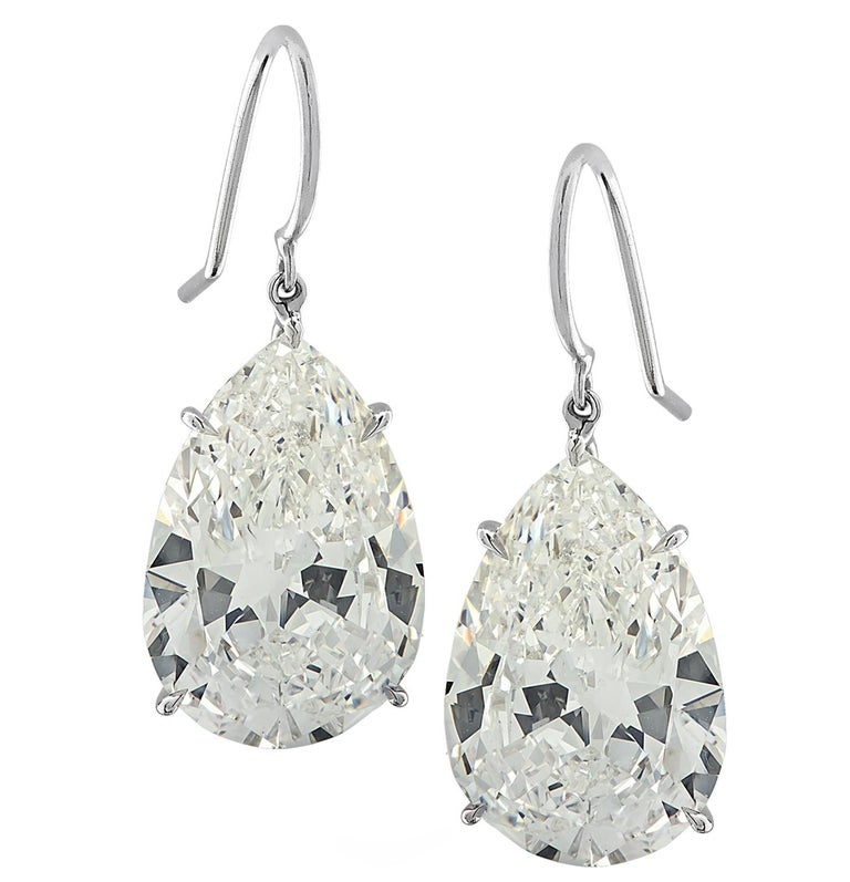 Vivid Diamonds GIA Certified 20.48 Carat Diamond Dangle Earrings For Sale 2