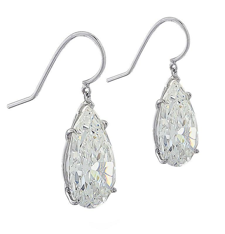 Vivid Diamonds GIA Certified 20.48 Carat Diamond Dangle Earrings For Sale 3