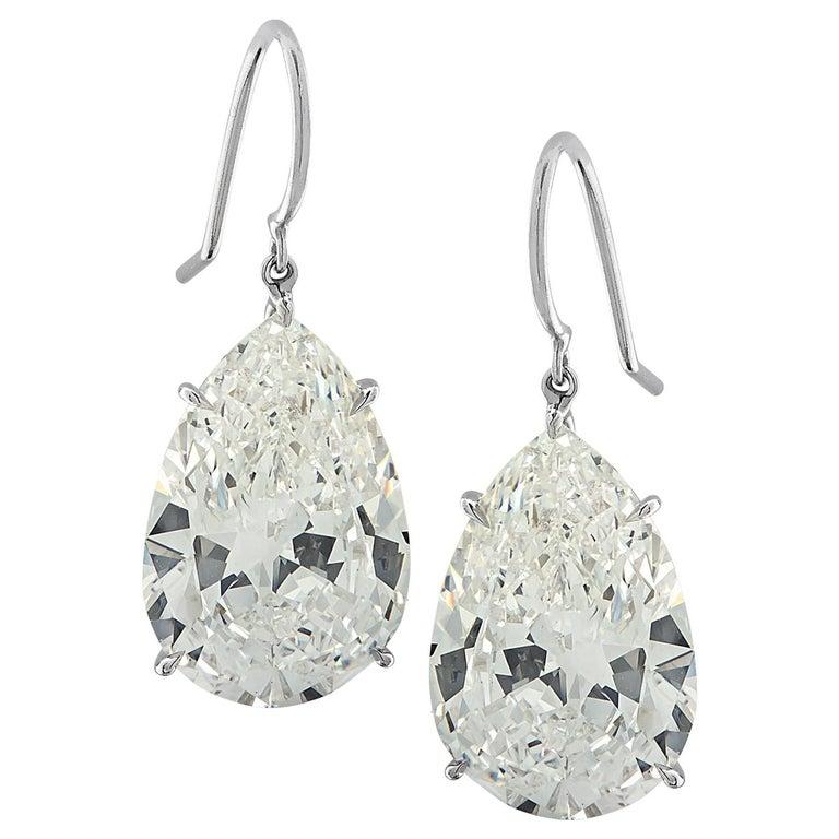 Vivid Diamonds GIA Certified 20.48 Carat Diamond Dangle Earrings For Sale