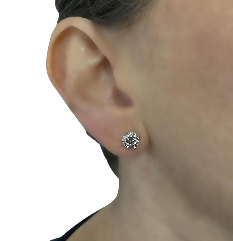 Modern Vivid Diamonds GIA Certified 2.06 Carat Diamond Stud Earrings For Sale