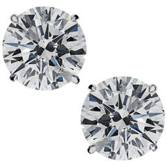 Vivid Diamonds GIA Certified 2.29 Carat Diamond Solitaire Stud Earrings
