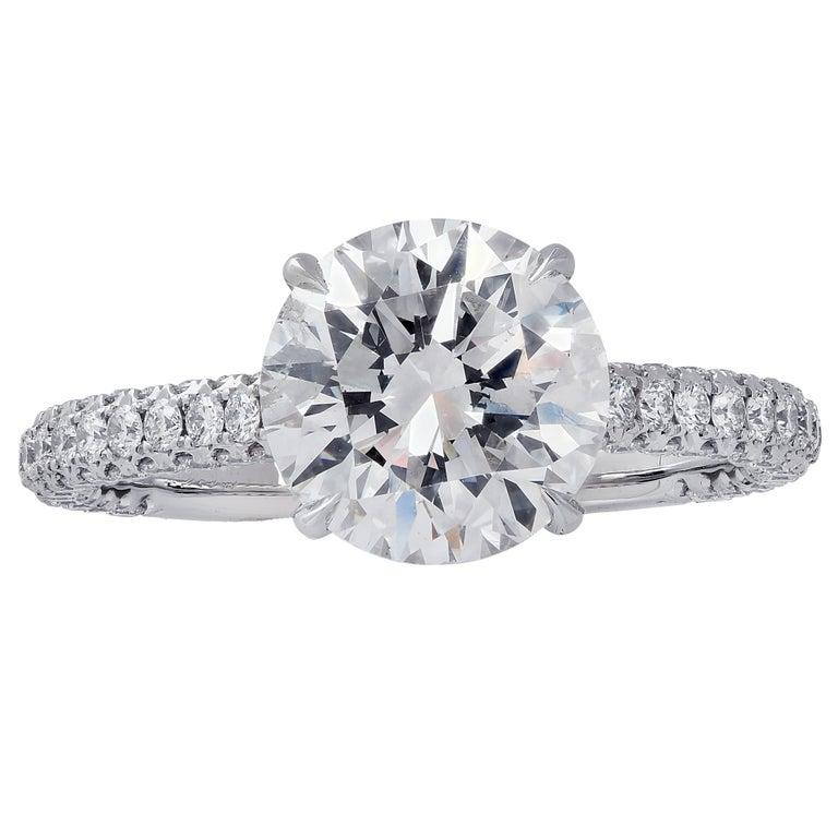 Modern Vivid Diamonds GIA Certified 2.09 Carat Diamond Engagement Ring For Sale