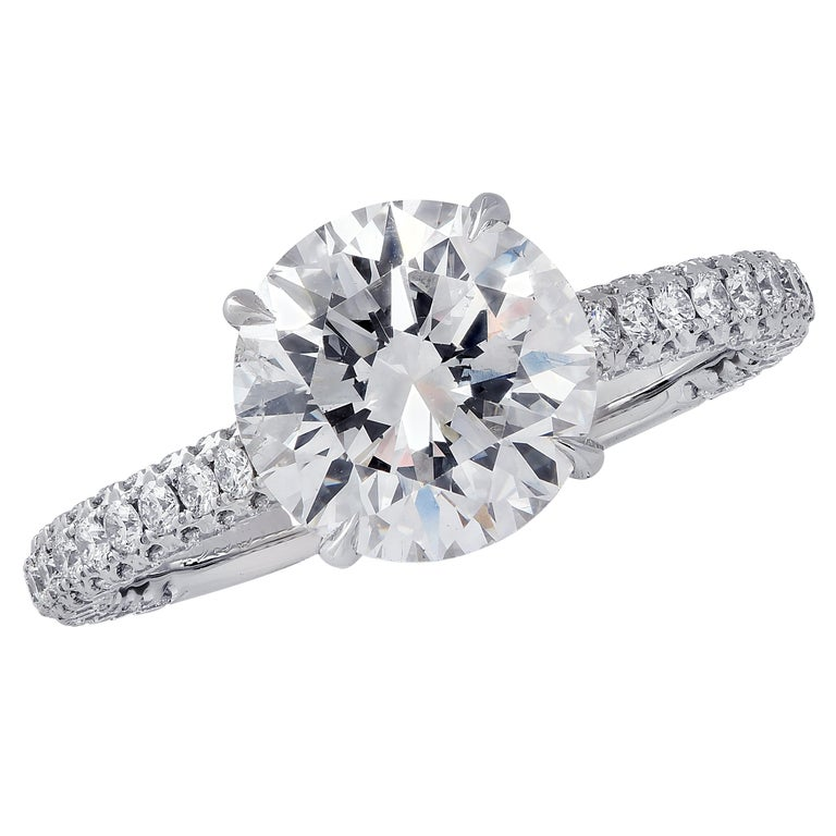 Vivid Diamonds GIA Certified 2.09 Carat Diamond Engagement Ring For Sale