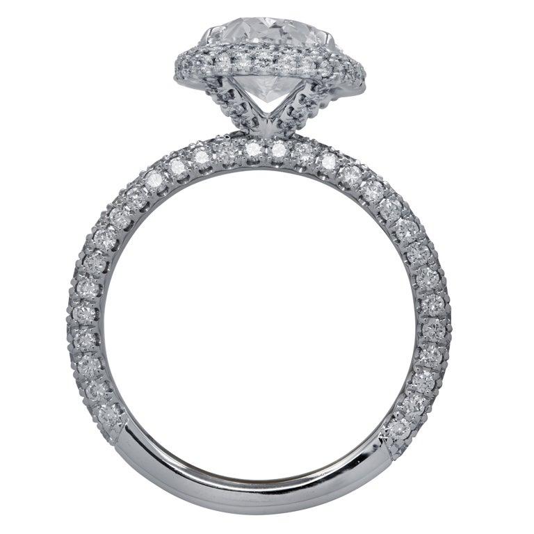 Modern Vivid Diamonds GIA Certified 2.50 Carat Diamond Halo Engagement Ring