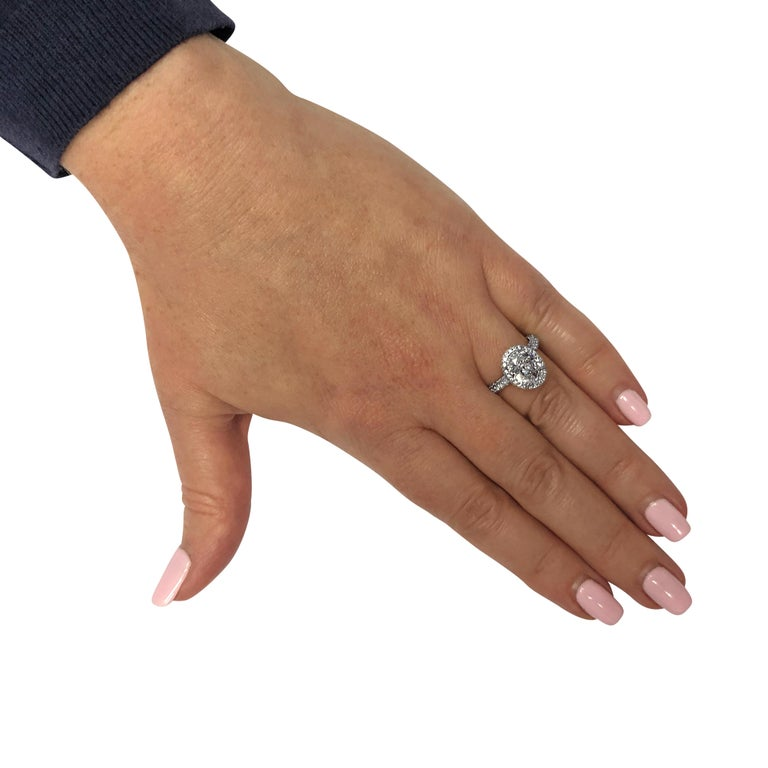 Oval Cut Vivid Diamonds GIA Certified 2.50 Carat Diamond Halo Engagement Ring