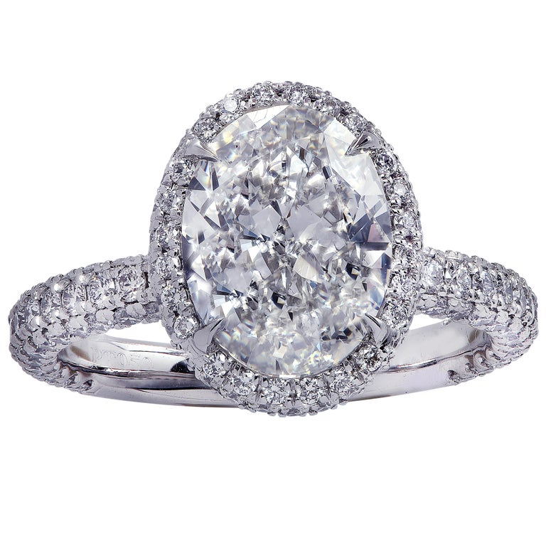 Vivid Diamonds GIA Certified 2.50 Carat Diamond Halo Engagement Ring In New Condition In Miami, FL
